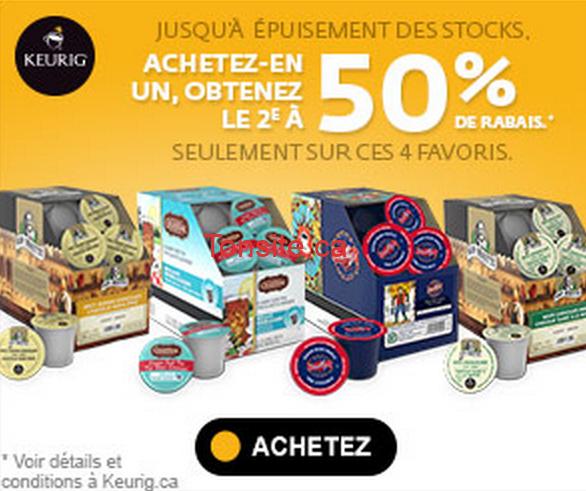 keurig 50 1 - Keurig: Achetez une boîte et obtenez la 2e à 50% sur ces 4 favoris!