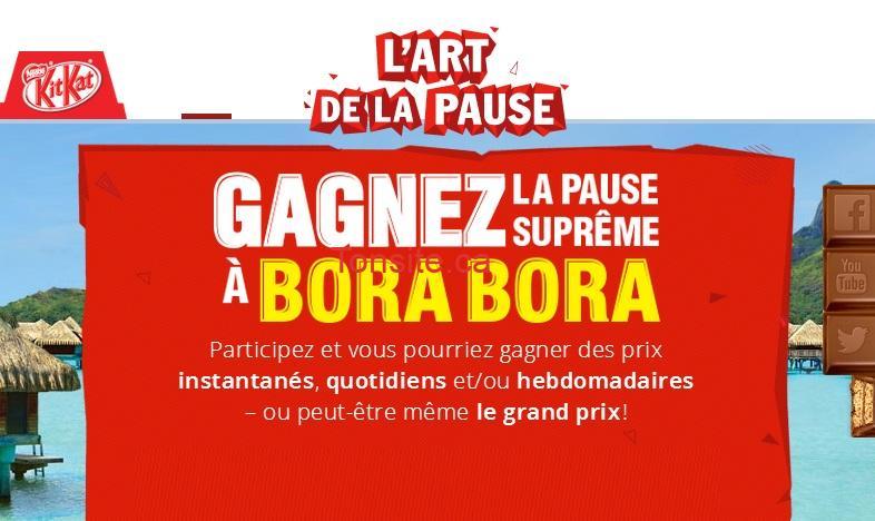 kit kat concours - Concours Kit-Kat: Gagnez un voyage pour 2 personnes à Bora-Bora ou 1 des 3149 prix!