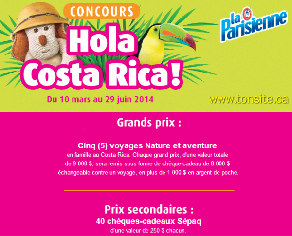 laparisienne concours1 - Concours La Parisienne: Gagnez 1 des 5 voyages à Costa (valeur de 9000$/ch) ou 1 des 40 prix secondaires!