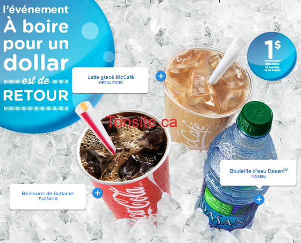 mcdollar boisson - Mc Donald's: Latte glacé McCafé, bouteille d'eau Dasani ou toute boissons de fontaines à 1$!