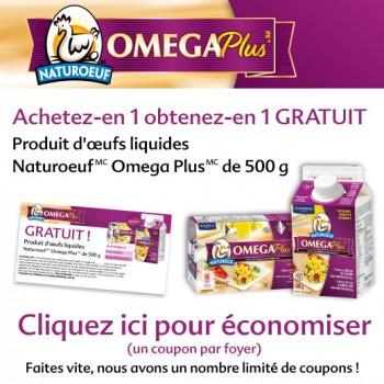 natureoeuf 350x350 - Coupon rabais (Achetez-en 1 obtenez en 1 gratuit!) sur un produit d'oeufs liquides Natureoeuf Omega Plus de 500g!