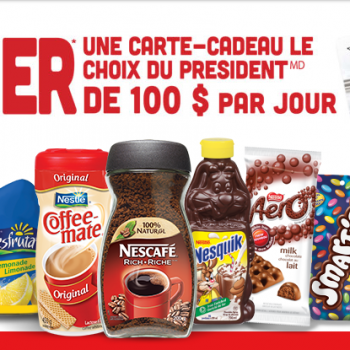 nes 350x350 - Concours Nestle Promotions: Gagnez une carte-cadeau Le Choix Du Président de 100$ par jour!
