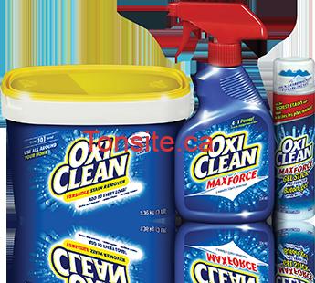 oxiclean - Un rabais postal de 7,50$ à l'achat un contenant de 1,36 kg ou de 1,28 kg de détachant OxiClean en poudre et un vaporisateur OxiClean ou un Bâton-gel OxiClean MaxForce