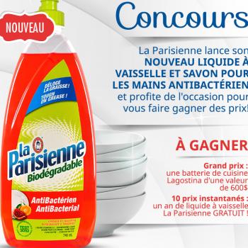 pari 350x350 - Concours La Parisienne: Gagnez une batterie de cuisine Lagostina (valeur de 600$) ou 1 des 10 prix instantanées d'un an de liquide à vaisselle gratuit!