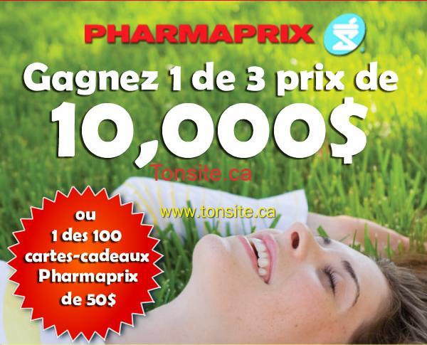 pharmaprix concours p - Concours Pharmaprix: Gagnez 1 des 3 prix de 10,000$ ou 1 des 100 prix instantanées (carte-cadeau de 50$)!