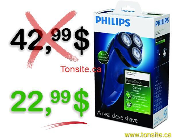 philips rasoir 1 - Rasoir électrique Philips Power Touch à 22,99$ au lieu de 42,99$ (après coupon)!