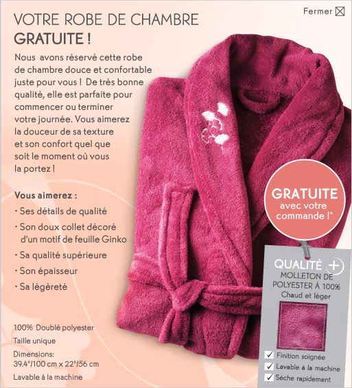 robe chambre - Gratuit chez Yves Rocher: Robe de chambre gratuite sur tout achat de 10$ ou plus!