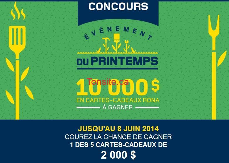 rona concours - Concours Rona: Gagnez 1 des 5 cartes-cadeaux de 2000$!