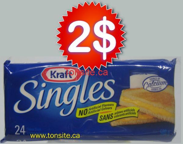 singles 2 d - Fromage en tranches Singles de Kraft à 2$ au lieu 4,99$