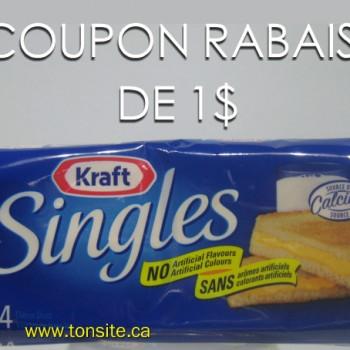 singles1 350x350 - Coupon rabais de 1$ sur les tranches de fromage Singles Kraft (500g), toutes variétés