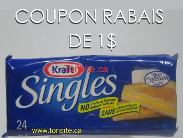 singles1 - Coupon rabais de 1$ sur les tranches de fromage Singles Kraft (500g), toutes variétés