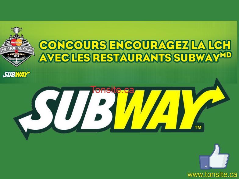 subway jpg - Concours Subway: Gagnez un voyage à London en Ontario tout inclus pour 4 personnes pour le premier match du Tournoi de la coupe Memorial MasterCard