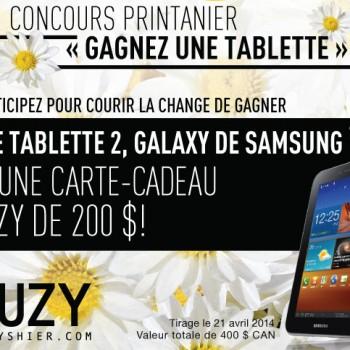 suzy concours 350x350 - Concours SuzyShier: Gagnez une tablette 2, Galaxy de Samsung et une carte-cadeau de 200$!