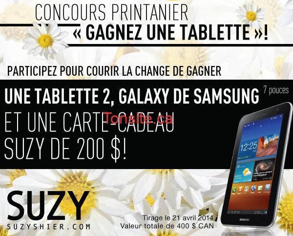 suzy concours - Concours SuzyShier: Gagnez une tablette 2, Galaxy de Samsung et une carte-cadeau de 200$!