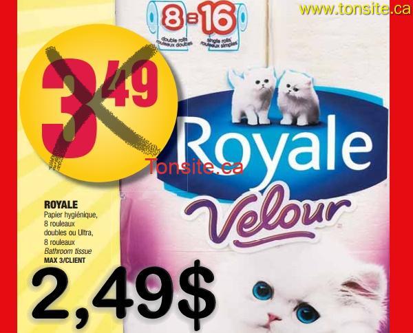 velour 2 49 - Un paquet de 8 rouleaux doubles du papier hygiénique Royale à 2,49$!