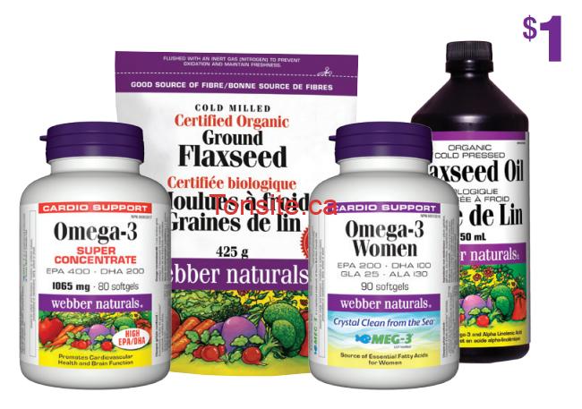 webber naturals omega3 - Coupon rabais de 1$ sur n'importe quel produit Omega-3 de Webber Naturals!