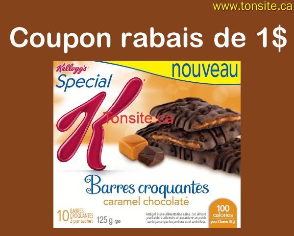 kelogs 1 - Coupon rabais de 1$ sur une boîte de Barres croquantes Special K Caramel chocolaté ou Saveurs de biscuits et crème (125 g)