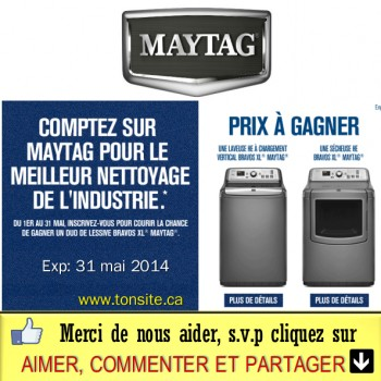 maytag jpg 350x350 - Concours Maytag Canada: Gagnez une laveuse et une sécheuse Bravos XL Maytag!
