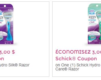 schik hydro coupon 350x276 - 2 nouveaux coupons rabais de 3$ sur les rasoirs Schik Hydro Silk!