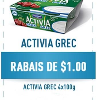 danone grec 338x350 - Coupon rabais de 1$ sur le yogourt Activia Grec de Danone!