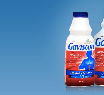 gaviscon 350x320 - Coupon rabais de 1,50 $ à l'achat d'un produit Gaviscon de format 18 et plus, pour le soulagement rapide de brûlures d'estomac.