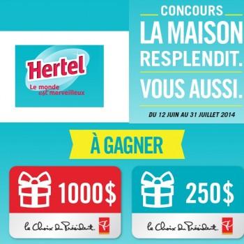 hertel concours 350x350 - Concours Hertel: Gagnez une carte-cadeau de 1000$ ou 1 des 4 cartes-cadeaux de 250$!