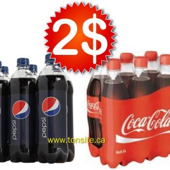 pepsi coca 750ml 350x350 - 6 bouteilles de Pepsi ou Coca Cola (710 ml) à 2$ (sans coupon)!
