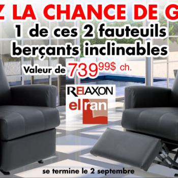 tanguay fauteuils 350x350 - Concours Ameublements Tanguay: Gagnez 1 des 2 fauteuils berçants inclinables (valeur de 739,99$)