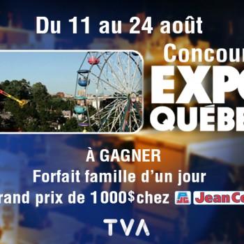 tvaq 350x350 - Concours TVAQuebec: Gagnez 1 des 8 forfaits familiaux d'un jour à Expo Québec ou 1 carte-cadeau 1000 $ chez Jean Coutu