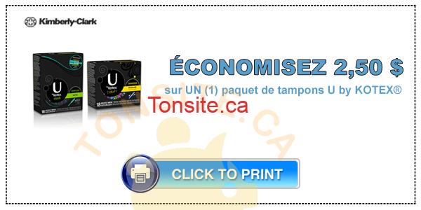 ubykotex 2 50 - Tampons U by Kotex à 2,19$ après coupon