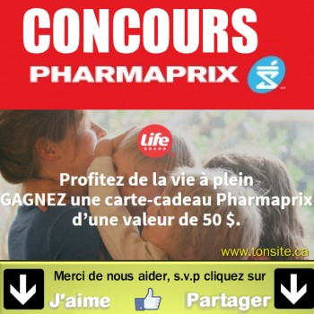 Pharmaprix concours1 350x350 - Concours Pharmaprix: Gagnez une des 20 cartes-cadeaux de 50$