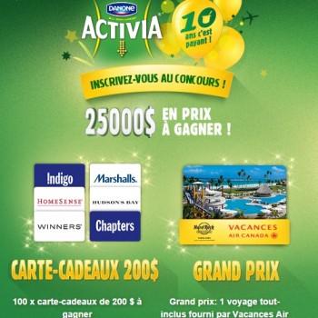 activia concoursd 350x350 - Concours Danone Activia: Gagnez un voyage à Punta Cana en république Domicaine pour 4 personnes (valeur de 5000$) ou 1 des 100 cartes-cadeaux de 200$