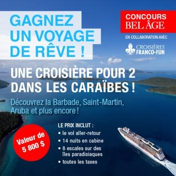 caraibes concours 350x350 - Concours Belâge: Gagnez une croisière de rêve pour 2 dans les Caraïbes