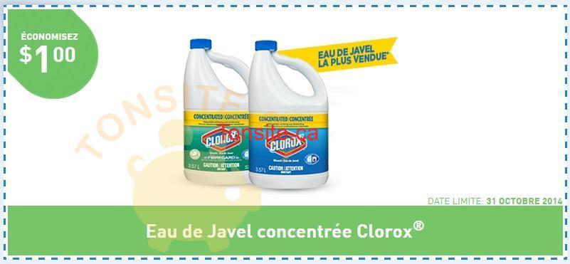 clorox1 - Coupon rabais de 1$ sur l'eau de javel concentrée Clorox
