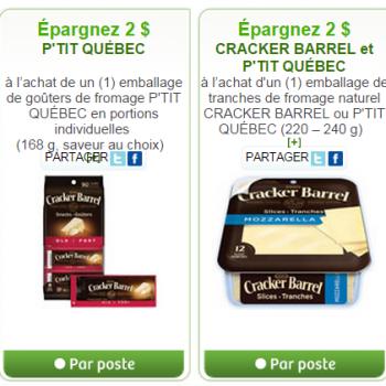 couponkraft websaver 350x350 - 2 nouveaux  coupons rabais sur les fromages Cracker Barel ou P'tit Quebec de Kraft!