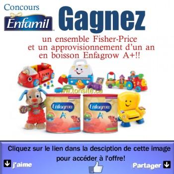 enfamil concours 350x350 - Concours Enfamil: Gagnez un ensemble Fisher-Price et un approvisionnement d'un an en boisson Enfagrow A+!!