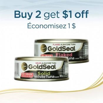 goldseal coupon 350x350 - Coupon rabais de 1$ sur 2 produits de Thon blance entier Gold Seal