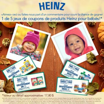 heinz concours 350x350 - Concours Heinz: Gagnez 1 de 5 jeux de coupons de produits Heinz pour bébés!