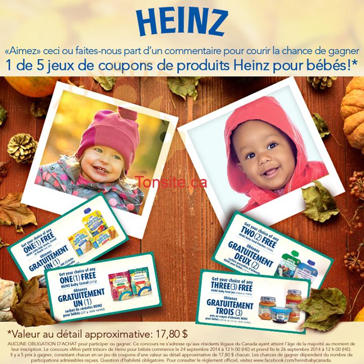 heinz concours - Concours Heinz: Gagnez 1 de 5 jeux de coupons de produits Heinz pour bébés!