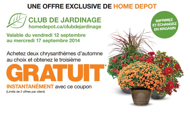 homedepot coupon - Coupon Home Depot: Achetez deux chrysanthèmes d'automne au choix et obtenez la troisième gratuit