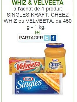 kraft produits 265x350 - Coupon rabais de 1$ sur les produits Singles Kraft, Cheez Whiz ou Velveeta