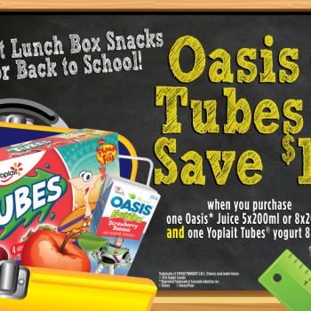 oasis yoplait 350x350 - Coupon rabais de 1.50$ sur un emballage de de jus Oasis et d'un emballage de yogourt Tubes de Yoplait