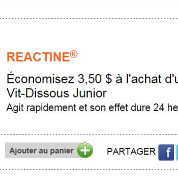 react 350x350 - Coupon rabais de 3,50$ sur un produit REACTINE Vit-Dissous Junior