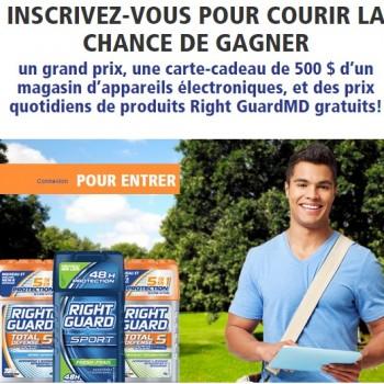 right guard 350x350 - Concours Right Guard: Gagnez une carte-cadeau de 500$ ou 1 des 70 prix quotidiens de produits Right Guard
