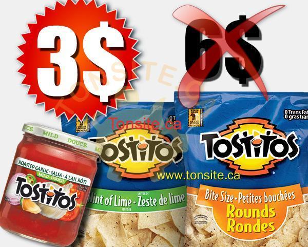 tostitos 3 - Chips et trempette ou salsa Tostitos à 3$ au lieu de 6$ après coupon