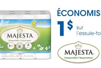 Majesta essuie tout FR 350x237 - Coupon rabais à imprimer de 1$ sur l'essuie-tout Majesta, échangeable exclusivement chez Uniprix