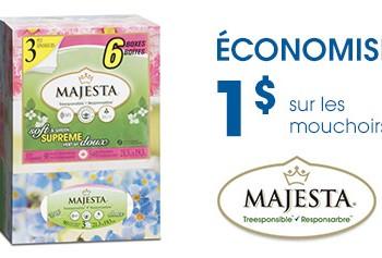 Majesta mouchoirs FR 350x237 - Coupon rabais de 1$ sur les mouchoirs Majesta échangeable exclusivement chez Uniprix