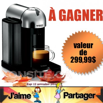 NESPRESSO CONCOURS 350x350 - Concours Personal Edge: Gagnez une machine à café Nespresso VertuoLine (valeur de 299,99$)
