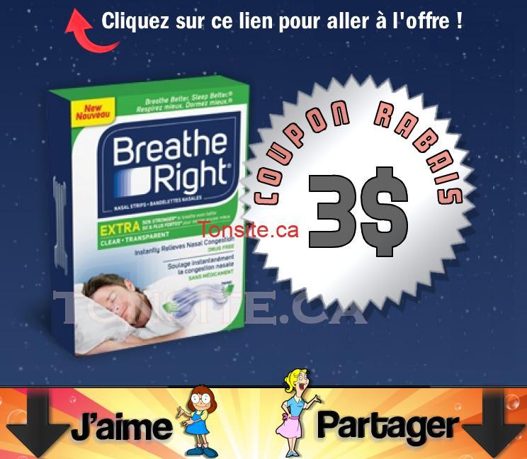 breathe right1 - Coupon rabais de 3$ sur toutes bandelettes nasales Breathe Right Extra transparentes