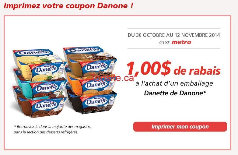 danette metro - Metro: Coupon rabais de 1$ sur un emballage Danette de Danone